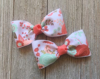 Coral,Peach,Mint Tuxedo Hair Bows,Alligator Clips,3 Inches Wide,Pigtail Hair Bows,Birthday Party Favors,Non Slip,Ready to Ship