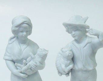 Antique Pair French Bisquit Parian Ware Figurines Kaesback Girl Boy Cat Dog