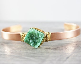 Druzy Cuff Bracelet, Light Green Druzy Bracelet, Druzy Gemstone Bracelet, Copper Bangle Bracelet, Gold Filled Bracelet, Gold Druzy Cuff