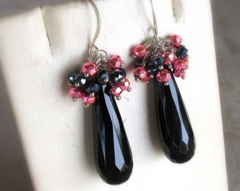Pink and Black Gemstone Earrings, Sterling Silver Black Onyx, Spinel & Pyrite Wire Wrapped Clusters