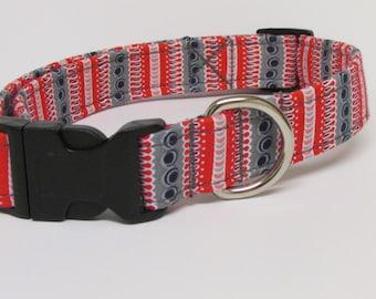 Fun Stripe Printed Handmade Dog Collar in Red and Grey/Gray