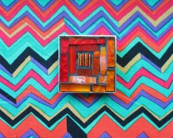Red and Orange Log Cabin Quilt Brooch
