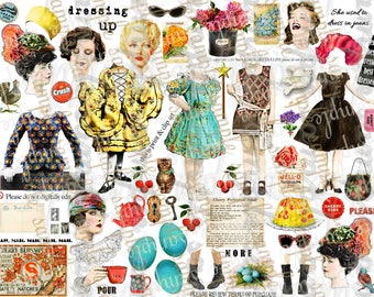 ART TEA LiFE New Dress Paper Dolls Parts Collage Sheet digital file printable download decoupage scrapbook journal card tag vintage photo