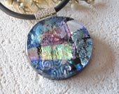 Round Rainbow Necklace, Dichroic  Necklace, Fused Glass Jewelry, Dichroic Jewelry,Dichroic Pendant, Black Necklace, Blue, ccvalenzo, 31217p1