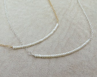 Dainty Gold Necklace or Sterling Silver Pearl Necklace Tiny Seed Pearls Freshwater Delicate Simple Small Bar Minimalist Bridesmaid Gift