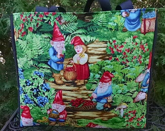Gnome tote bag, knitting project tote bag, Gnome Berry Picking, The medium Fleur wide