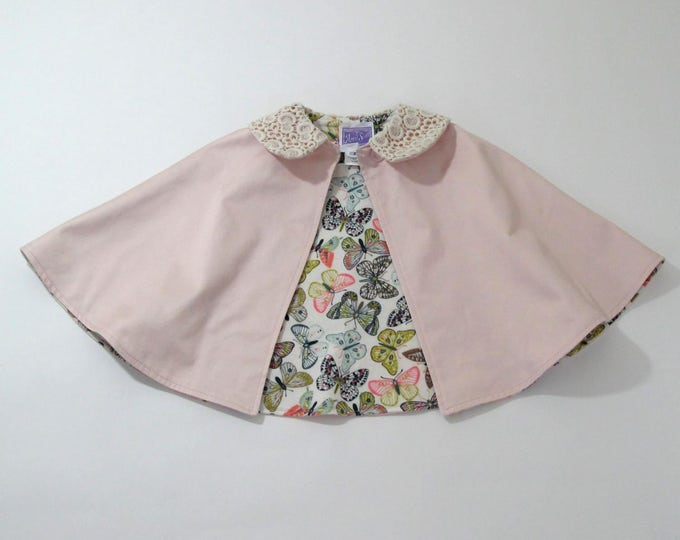 Girls Cape, Flower Girl Cape, Toddler Cape, Baby Cape, Girls Capelet, Girls Party Cape, Pink Cotton Cape with Lace Peter Pan Collar