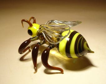"Blown Glass ""Murano"" Art Animal Figurine Insect Striped Wasp Bee"