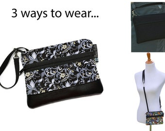 Cell Phone Purse - Fanny Pack or Wristlet - Cell phone Cross body Bag - Small Cross body Purse - Long Zip Bag- Nightingale Fabric