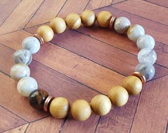 SALE- Size 7 - Stackable Gemstone Bracelet, Beaded Bracelet, Mala Bracelet, Healing Gemstone Bracelet, Yoga Jewelry, Meditation