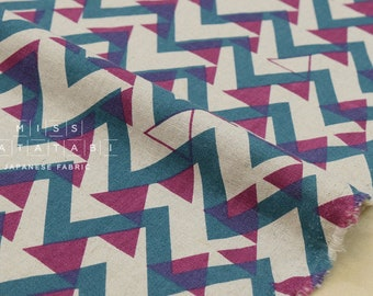 Japanese Fabric - triangle mountains canvas - teal, magenta, natural - fat quarter