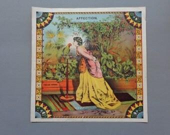 "Original Vintage 1800's ""Affection"" Plug Tobacco Caddy Lithograph Paper Label"