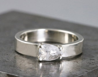 Hammered White Gold Ring with Rose Cut Diamond - Pear Shaped Diamond - Natural Silver Grey Diamond - Alternative Engagement - READY TO SHIP