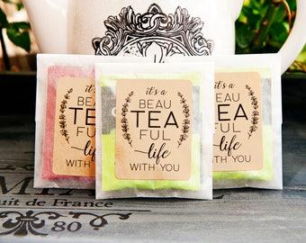 Wedding Tea Favor - Romantic Tea Pun - Bags and stickers for your DIY Favor Project - tea bag, loose leaf, drink, winter - 20 envelopes