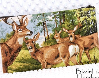 Vintage White Tail Buck and Family Medium Zipper Pouch, Slim Cosmetic Bag, Handmade Nature Woodland Deer Organizer Pouch
