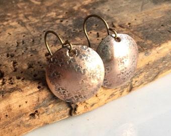 Hammered Earrings, Brass Earrings, Textured Earrings, Domed Earrings, Dangle and Drop Earrings, Etsy, Etsy Jewelry, Simple Earrings