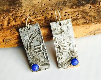 MARCH MADNESS SALE Etched Earrings, Mixed Metal Earrings, Tribal Earrings, Unique Earrings, Denim Lapis, Copper and Silver, One-of-a-Kind