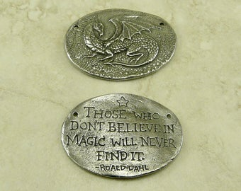 Magic Dragon Green Girl Link Charm Pendant - Fantasy Creature Believe Harry Potter - 2 Hole American Artist Made Lead Free Pewter Silver 511