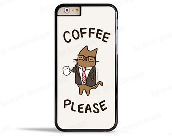 Coffee Phone Case Samsung Galaxy S7 Case Cute Cat Kitty iPhone SE Case Clear Phone Case Office Gift iPhone 6s Case