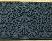 VICTORIAN ELEGANCE Embossed Rubber Texture Tile Mat Stamp for Clay inks  Paint Soap   TTL729