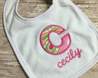 Lilly Pulitzer Baby Bib - Handmade Baby Bib - Personalized Baby Bibs - Paisley Baby Bib - Lilly Pulitzer Baby Shower - Baby Shower Gift