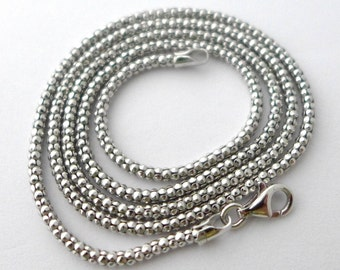 2.2mm thick solid sterling silver popcorn chain light oxidized with rhodium plating