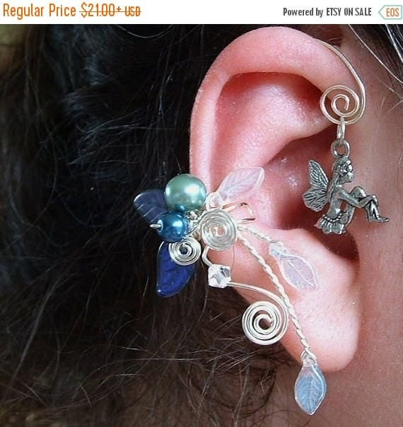 ON SALE Blue Fairy Bower Ear Cuff Climber No Piercing, Fairytale Wedding Jewelry, Ear Wrap Vine