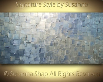 ORIGINAL Large Modern Art Metallic Abstract Painting Periwinkle Blue Silver Squares Thick Texture Palette Knife Artwork by Susanna 48x24
