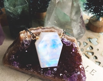 S p i r i t...Rainbow moonstone necklace, moonchild, amethyst, coffin, boho, protection, crown chakra, mixed metal, pagan FREE SHIPPING