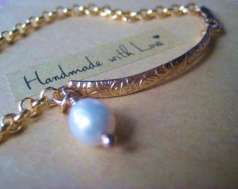 Gold Bar Bracelet, 14k Gold Fill,Natural Pearl, Pattern Bar, Pearl Charm, Rolo Chain, Womens Jewelry, 14k GF Charm, candies64