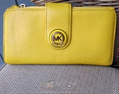 Vintage Michael Kors Yellow Leather Wallet | Ladies Checkbook Wallet | Foldover Wallet | Yellow Leather | Ladies Wallet Under 50 | Unique