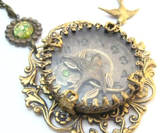 Sparrow Under Glass Peridot, Steampunk Under Glass Creation,  Victorian Steampunk, Sparrows, Under Glass Victorian, One of a Kind
