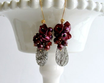 Pearls, Petal Pearls Garnets Black Spinel Tourmilated Quartz Cluster Earrings - Celosia II Earrings