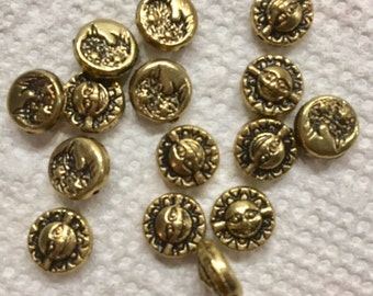 Antique Gold SUN FACE and man in the moon metal Beads 8MM 15 pcs smiling sun half man in moon with planets