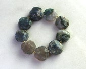 Little Luxe Simple Stacking Stretch Bracelet in Raw Mossy Aquamarine...