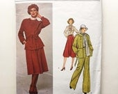Galitzine Sewing Pattern Vogue Designer Original 1288 Jacket Skirt Pants Pussy Bow Blouse 34 Bust Size 12 Vintage 70s