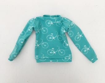 sweater turquoise bike print