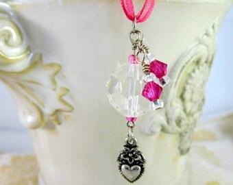 Rearview Mirror Jewelry Charm Car Feng Shui Wine Heart Hot Pink