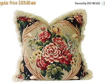 BIG SALE - Floral Barkcloth Pillow w/ Brush Fringe - Large Custom Decorator Pillow - 24 x 24