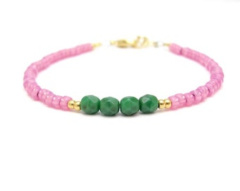 PInk Turquoise Green Friendship Bracelet, Pink Beaded Bracelet, Beaded Bracelet, Yoga Jewelry, Zen Bracelet, Stack Layer, Turquoise Jewelry