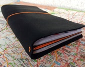 Leather Traveller's Notebook - Fauxdori - Midori Compatible - Black Leather with 3 Inserts - 21 x 11 cm