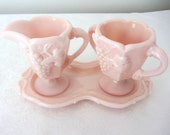 Fostoria Pink Milk Glass Sugar Bowl And Creamer Set With Tray