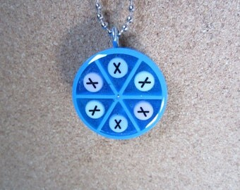 X necklace- Upcycled Trivial Pursuit Pendant - Blue