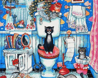Bathroom cats - modern counted cross stitch kit, Extra large, Advanced