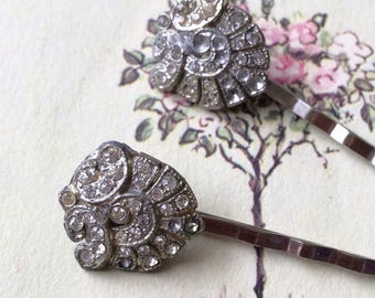 Art Deco Rhinestone Hair Pins, Silver Tone, Upcycled Vintage Earrings, Set of Two
