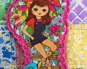 Crochet Card / Ornament / Tag - Groovy Kerchief Girl / Vintage Greeting