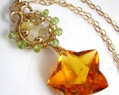 VDAY SALE Star Bright Necklace - Citrine, Opal, Peridot and Gold Fill