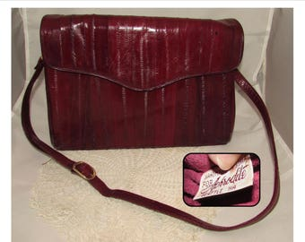 Vintage Cranberry Burgundy Eel Skin Leather Shoulder Bag Handbag Purse, Handmade in Korea for Aphrodite Seattle, 80s, eelskin, Suede inner