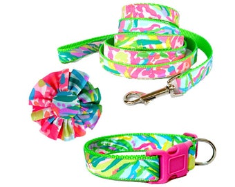 2017 FAN SEA PANTS Dog Collar and/or Leash on Green with Bow or Flower Option Made from Lilly Pulitzer Fabric Size: Your Choice