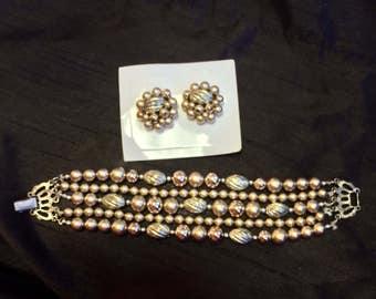 Pretty Vintage Japan Beaded Bracelet and Earrings Set